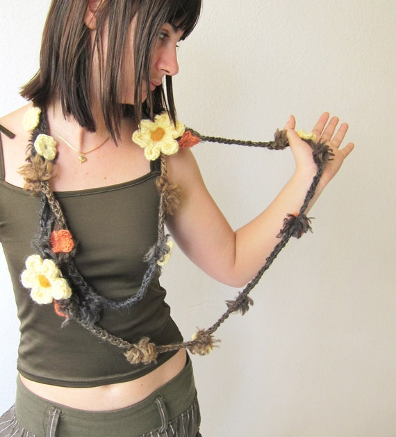 Crochet scarf in Chocolate beige grey with small flowers and two cream  crochet flowers brooch