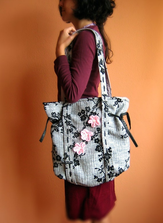 Unique Grey and Black Canvas Tote Large Bag with Japanese Blossoms  Japanese Haiku Last Piece