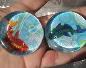 Set of Five Large Glass Fish Magnets