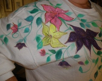 Hand painted Tiger Lilies - Womens 2X sweatshirt - Classy - Striking - Vivid purple hot pink and yellow Tiger Lilies lined in gold