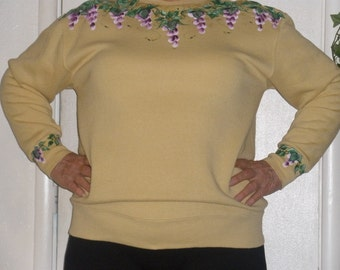 Free-Hand painted sweatshirt - vines of purple fuchsias on front sleeves and back - romantic - unique color of pale mustard yellow - Large