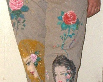 Mad painter went crazy with women designs on men sz 33x30 Docker khaki pants - Bohemian OOAK Art for a Statement look