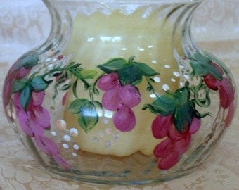 Hand painted bowl or vase - design surrounds the quality vase - pink and rose Wisteria Vine - versatile uses - home decor - romantic votive