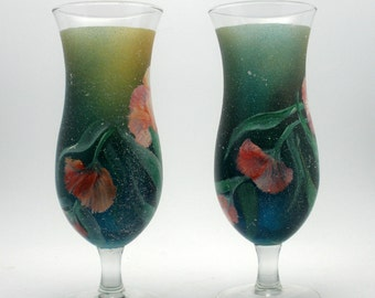 Free-Hand Painted Pair of Ombre Frosted Carnations -  Tall Hurricane glasses - Create All Occasion Drinks - Wrap-around Swirl of Carnations