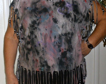 Hand Painted Punkrocker Tie Dyed T shirt - Fringed Pewter shiny studs and silver toned chain - Plus size Tee - OOAK
