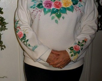 Floral hand painted crew neck sweatshirt, hand painted rose designs, plus size white crew neck soft lined sweatshirt with painted roses