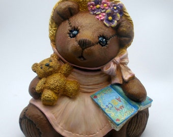 Painted Ceramic Teddy Bear sewn look - Antiqued Linen Dress - Flower Bonnet and Scarf - ABC Book - With Baby Bear Doll - felt bottom