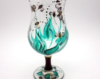 Those darn bees - Hand painted Wine Glass of flying Bees - Have fun with a glass of drunk bees - holds 16 oz - Original Creation - one only