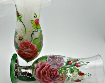 All free-hand painted pair of Hurricane Glasses - Garden of Roses, daisies and butterflies in red pink and green detailed speciality glasses