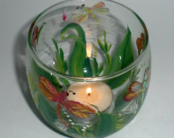 Painted Candle Votive with leaves and dragonflies