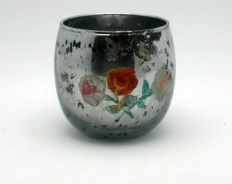 Painted Mercury Glass Votive with Flowers