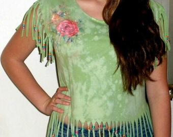 Hand painted tie dyed green tee - Painted romantic watercolor rose design on shoulder - cut up tee with fringe and beaded V design