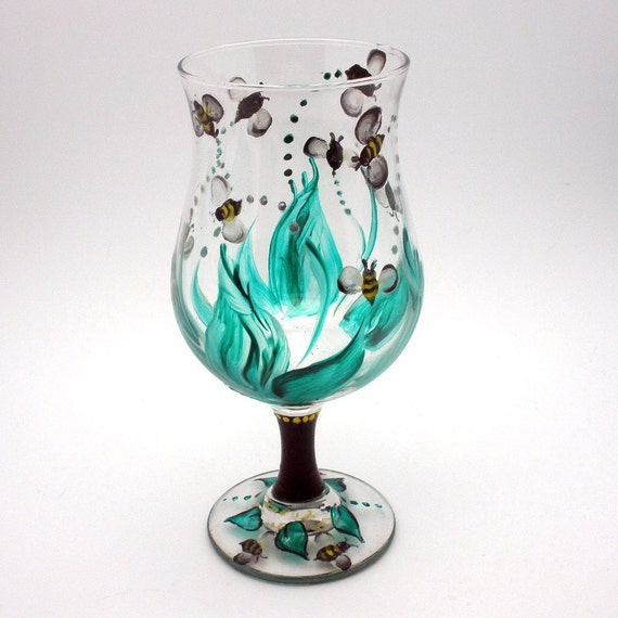 Hand painted Wine Glass - Swarm of Darting Bees - Glass of Real Cute Little Bees - holds 16 oz - Unique and fun loving