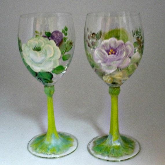 Hand painted Lead Free Crystal Wine glasses by Schott Zwiesel