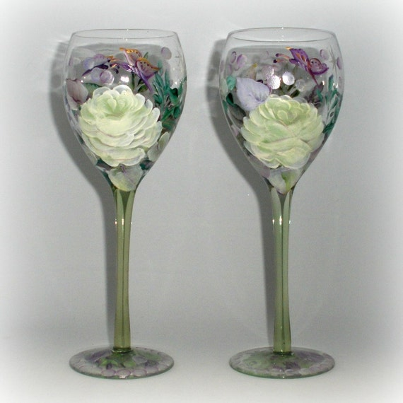 Pair of Hand painted Fantasy Wine Glasses - Seamless light Green Stems - White and lavender roses - Stars and butterfly - Roses and bubbles