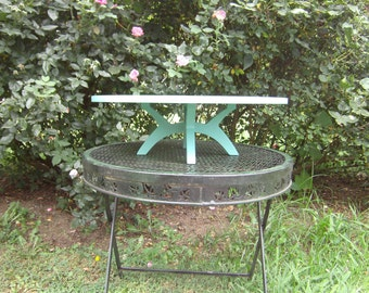 The X Stand II With Arched Legs Custom Made Cake Stand.  Mid Century Modern.