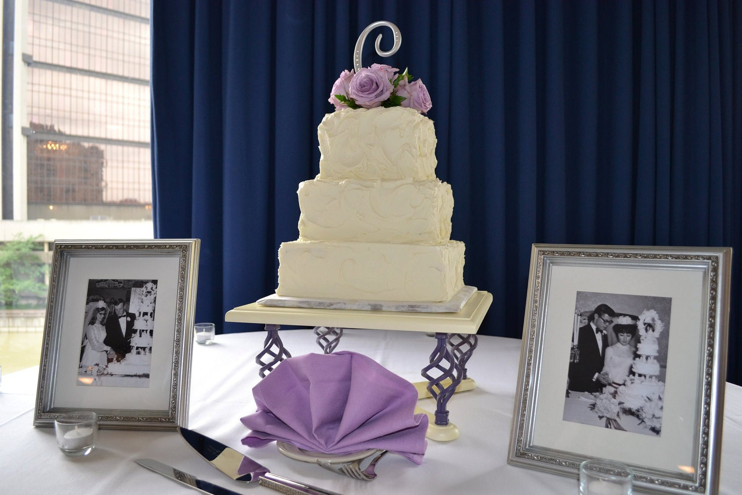 Custom Made Square Top Cake Stand with Spiral Legs Size and