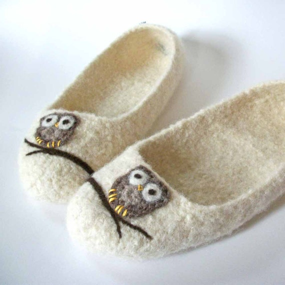 The Ade - Wool Felted Slippers - Any Size - Cream / Owl / Branch / Made To Order / Custom Order