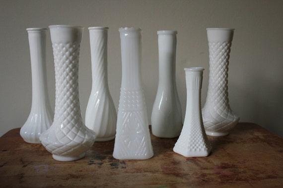 Seven Assorted Milk Glass Bud Vases