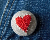 Hand-Embroidered Red Sweetheart Brooch - Make Every Day Valentine's Day