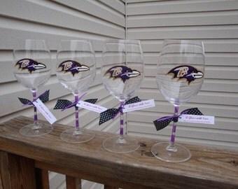 Ravens wine glass, purple and black, baltimore wine glass, hand painted wine, maryland wine glasses, charm city, bridesmaid glasses