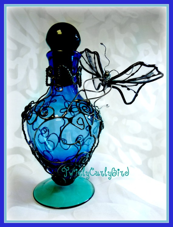 Stained Glass Faerie With Filigree Embellished Glass Wings and Filigree Embellished  Hand Blown Perfume Bottle