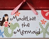 Custom Order for Heather - Pottery Barn Inspired Mermaid Hand Painted Personalized Wooden Door Sign Brunette