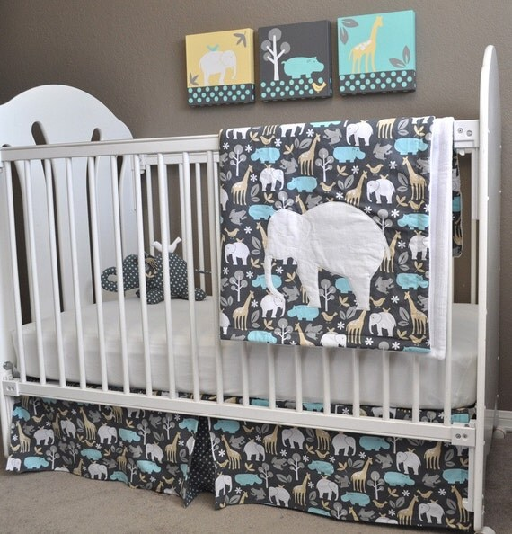 Custom Order for Denise --  Michael Miller Zoology Crib Bedding and Paintings Set
