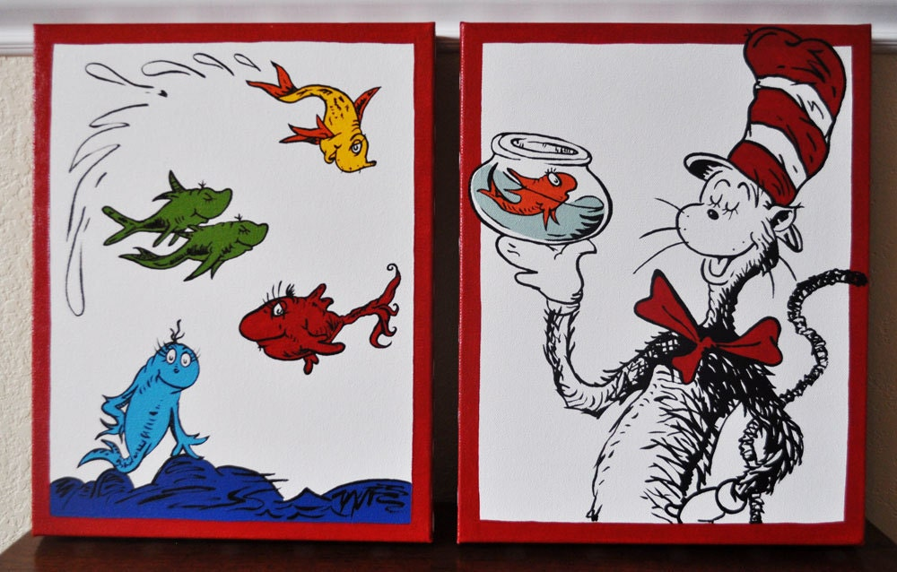 Dr seuss duo cat in the hat and one fish two fish 11x14 for Cat in the hat fish