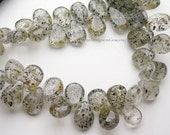 Rare Black Rutilated Quartz Smooth Polished Pear Shape Briolettes 8 x5 mm- 1/2 Strand