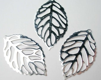 Sterling Silver Open Work Leaf Charm 23 x 14mm