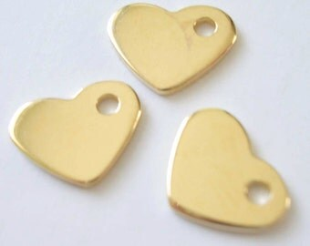 One Small Detailed Gold Vermeil 18kt Heart Charm 7 x 8mm