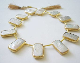 White Freshwater Pearl Lustrous Rectangle with Vermeil Bezel 22x12mm