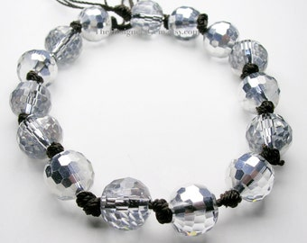 Silver Coated Gray Top Drilled Chinese Crystal Faceted Round Disco Ball 10mm - FULL Strand