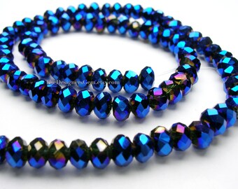 Metallic Bright Blue Chinese Crystal Faceted Rondelles 4mm