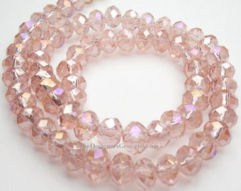 Salmon Pink AB Chinese Crystal Faceted Rondelles 6mm - 1/2 Strand
