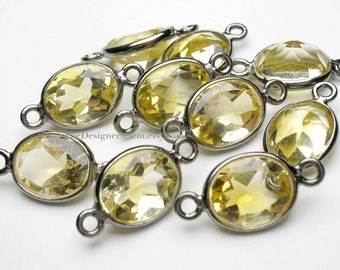 Lemon Yellow Citrine Oval Rhodium Coated Connector 16x8mm