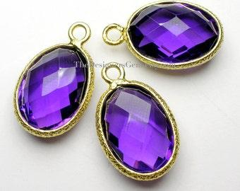 Purple Amethyst Oval Pendant with Vermeil Gold FANCY Bezel 19x12x6mm