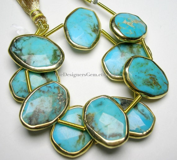 Delicious Blue Turquoise Oval Nuggets with Vermeil Bezel Rim 16X12mm - 1/2 STRAND