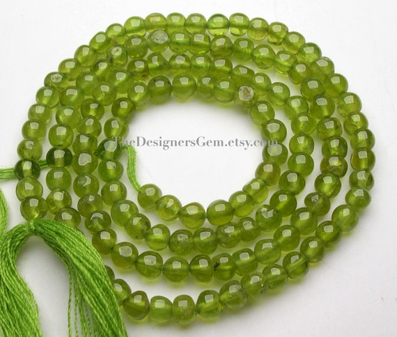 Bright Peridot Green Smooth Polish Rounds to Semi Rounds 3mm -1/2 Strand