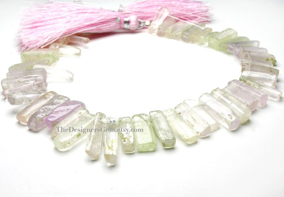 Baby Pink & Light Green Kunzite Smooth Polished Top Drilled Nugget Sticks 11 to 17mm -1/2 Strand