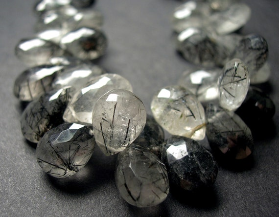 Black Rutilated Quartz Faceted Pear Briolettes 10x6mm - 1/2 Strand