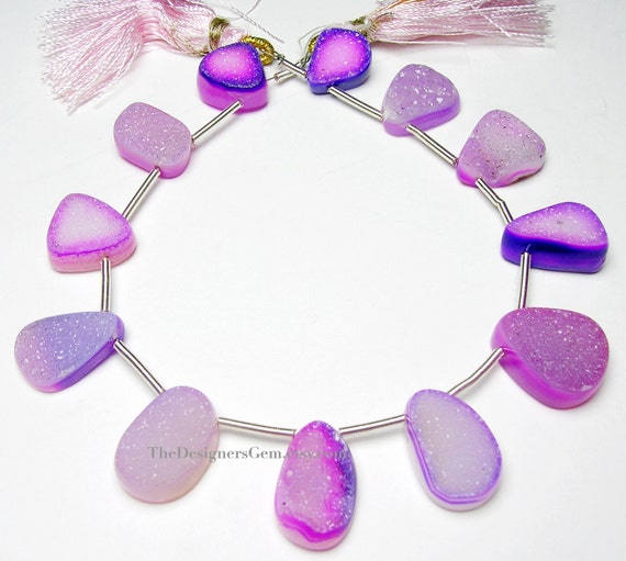 Sparkling Pink & Purple Druzy Top Drilled Briolettes 13 x 11mm to 17 x 12mm -1/2 STRAND