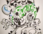 """Original organic robot Pen and Ink Drawing """"The Doctor's Abomination"""""""
