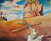 Dali inspired original surreal painting full of color