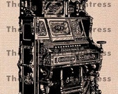 French Organ Illustration, Digital Graphic Download File to Print and Transfer to Fabric and Linens, Wood, Ceramics, Journals and other Artful Projects No. 184