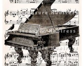 Digital Collage Sheet Grand Piano and Music Sheet Vintage Illustration, Sepia Toned Antique Print for Framing and Wall Decor, Or Use for Iron On Transfer or Other Paper Crafts