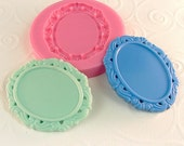 Ornate Cabochon Frame Setting Flexible Silicone Mold/Mould for Crafts, Jewelry, Scrapbooking, (soap, resin, pmc, polymer clay) (262)