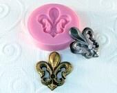 Fleur de Lis Flexible Silicone Mold Mould Resin mold Polymer clay mold Embellishment Mold Mould (286)