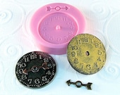 Steampunk Clock Mold Flexible Silicone Resin mold mould Polymer clay PMC Fondant Chocolate (281)